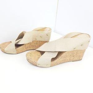 Madden Girl sandal wedge size 9 elastic strap shoe